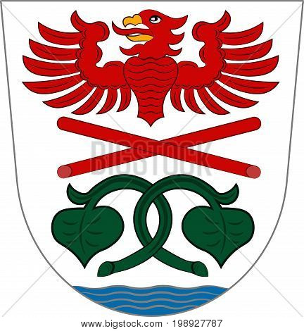 Coat of arms of Miesbach is a district in Upper Bavaria Germany. Vector illustration from the