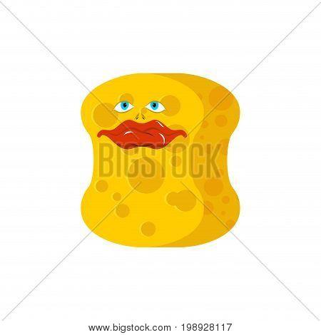 Sponge Emoji Good. Emotions Happy Yellow Avatar Sponge For Cleansing