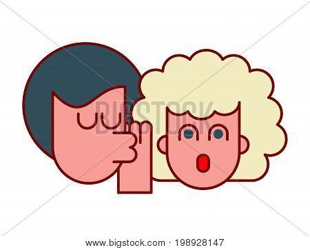 She Whispers In Ear Pop Art Liner Style. To Speak In Secret. Whisper, Gossip. Dissolve Rumors