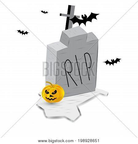 Headstone cross pumpkin bats. Vector image for website