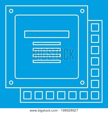 Computer CPU processor chip icon blue outline style isolated vector illustration. Thin line sign