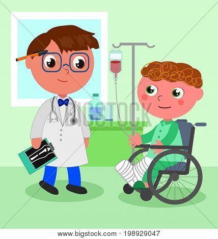 Orthopedic doctor with sick child in wheelchair, vector illustration