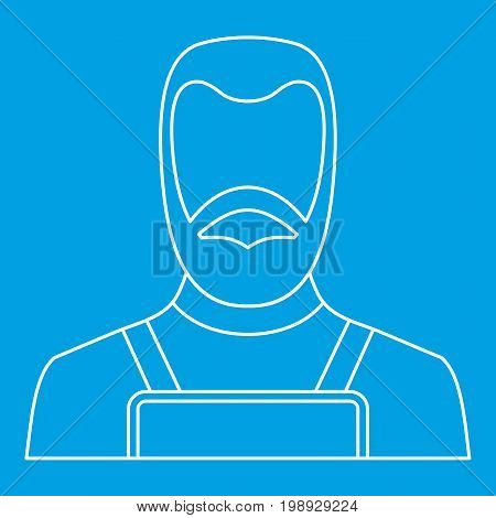 Blacksmith icon blue outline style isolated vector illustration. Thin line sign