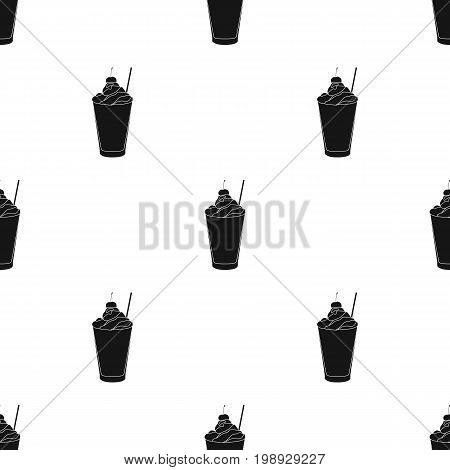Milkshake with cherry on the top icon in black style isolated on white background. Milk product and sweet symbol vector illustration.