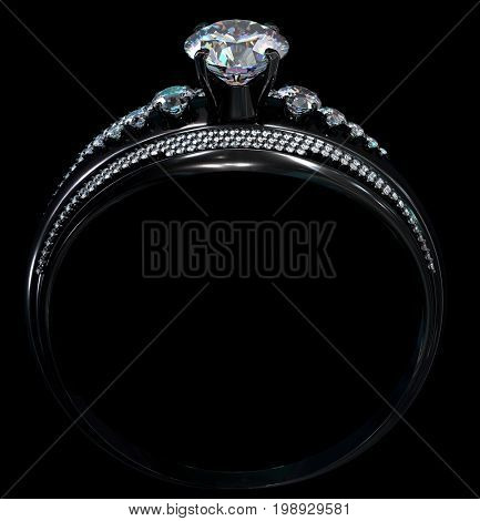 Black gold engagement ring with diamond gem. Luxury jewellery bijouterie with rhodium or ruthenium coating with gemstone of romantic mystical ring. 3D rendering