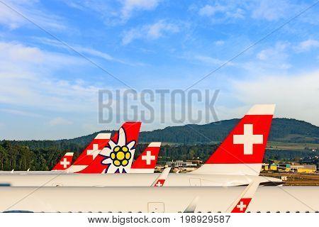 Zurich Switzerland - June 11 2017: Airport Zurich - tail fins of airplanes - airlines