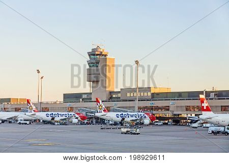 Zurich Switzerland - June 11 2017: Airport Zurich (Flughafen Zurich) - view of Tower and airfield with several airbus of airline