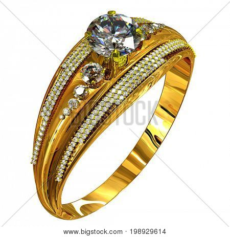 Gold ring with diamond gem. luxury jewellery bijouterie with gemstone for people in love . Reflection inside ring on isolated. 3D rendering