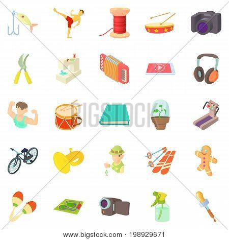 Fun hobby icons set. Cartoon set of 25 fun hobby vector icons for web isolated on white background