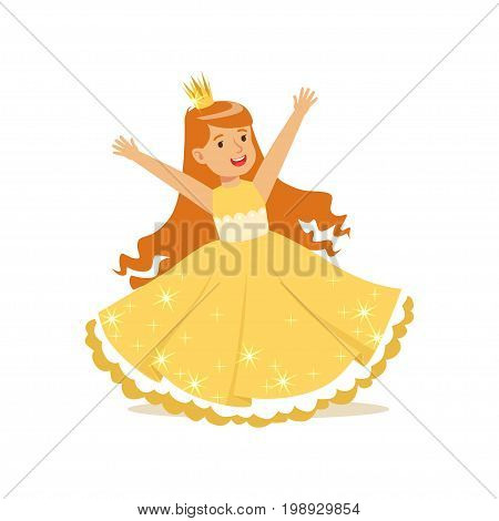 Beautifull redhead little girl princess in a gold ball dress and golden tiara, fairytale costume for party or holiday vector Illustration isolated on a white background