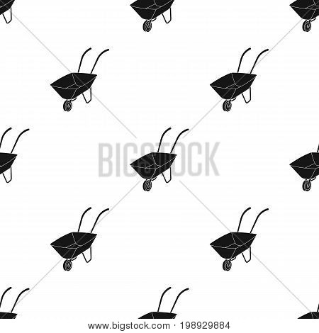 Green cart with wheel and handles. The means of transportation of small cargoes on the territory of the mines.Mine Industry single icon in black style vector symbol stock web illustration. poster