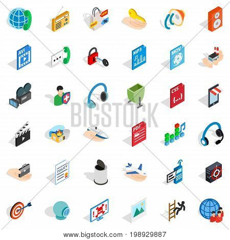 Web site icons set. Isometric style of 36 web site vector icons for web isolated on white background