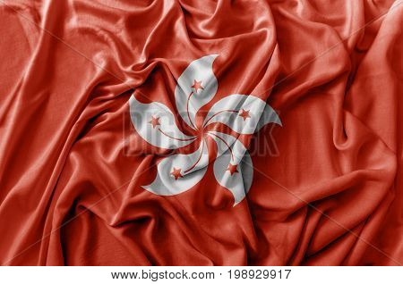 Ruffled waving Hong Kong flag national flag