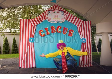 Happy clown with a violet wig in front of the circus tent