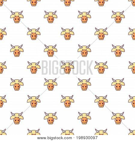 Cow head pattern in cartoon style. Seamless pattern vector illustration