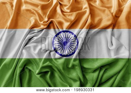 Ruffled waving India flag national flag close