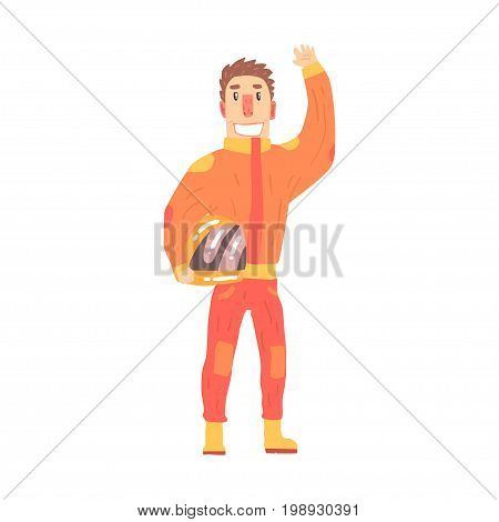 Car racing driver man in an orange uniform greeting fans, member of racing team vector Illustration isolated on a white background