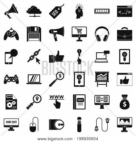 Web game icons set. Simple style of 36 web game bile vector icons for web isolated on white background