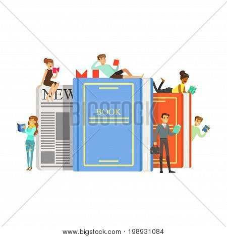 Micro young women and men sitting, lying on a giant books and newspaper, people enjoy reading vector Illustration isolated on a white background