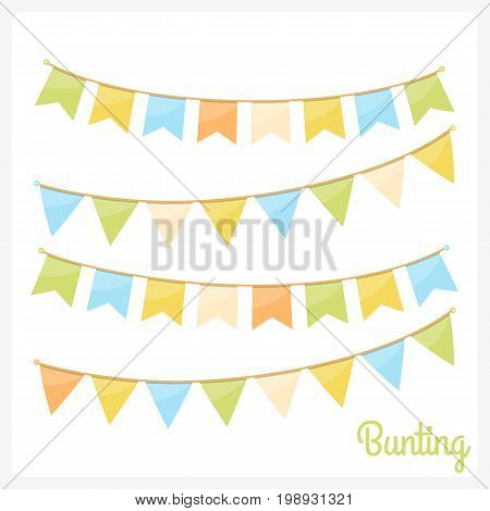 Colorful bunting for decoration of invitations greeting cards etc, bunting flags, vector eps10 illustration
