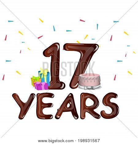 Seventeen Years Anniversary celebration card. 17th birthday vector illustration