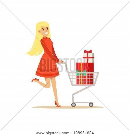 Happy woman in a red dress walking with a shopping cart full of gift boxes, shopping in grocery store, supermarket or retail shop, colorful character vector Illustration isolated on a white background
