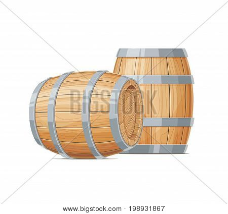 Two Wooden barrel for wine or beer. Container beverage. Vintage oak Cask. Isolated white background. Vector illustration.