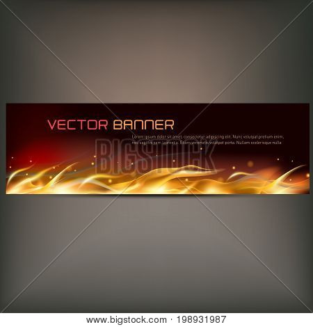 Vector illustration of fire flame banner on gray background