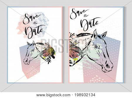 Hand drawn vector abstract modern boho tropical minimalistic save the date cards template set with exotic palm leaf and graphic horses heads in pastel and green colors.Poster, card, invitation design
