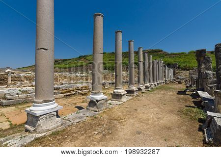 Ancient ruins of Perge. The colonnaded street. Turkey
