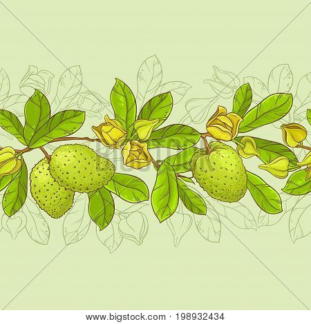 soursop vector horizontal  pattern on color background