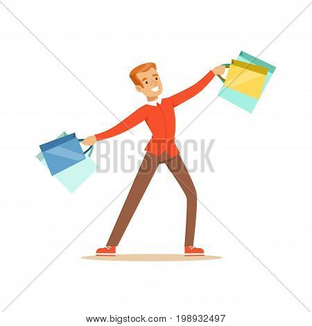 Elegant young handsome man in a red pullover with gift box and shopping bags colorful character vector Illustration isolated on a white background