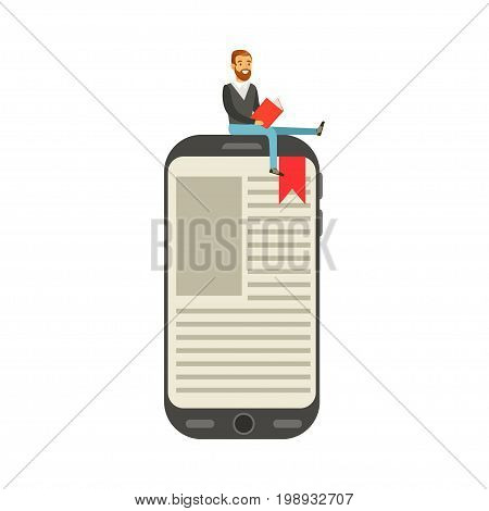 Bearded young man sitting and reading on a giant electronic book vector Illustration isolated on a white background