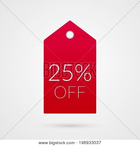 25 percent off shopping tag vector icon. Red and white isolated discount symbol. Illustration sign for sale advertisement marketing project business retail wholesale shop commerce label