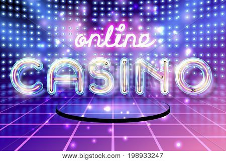 Retro neon glowing glass CASINO lettering with transparency and shadows. 3D light bulb advertising on dark backgrounds