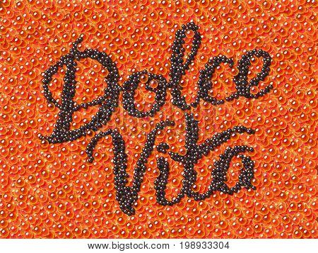 Black caviar lettering Dolce Vita on red caviar background. Custom type positive motivation poster.  3d illustration
