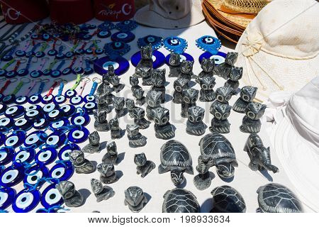 Traditional souvenirs and amulets against the evil eye. Turkey.