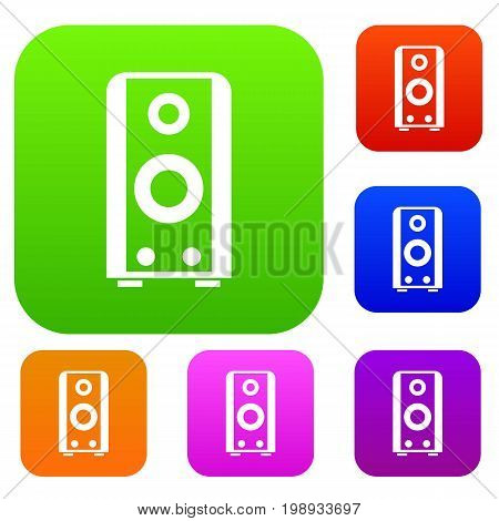 Black sound speaker set icon in different colors isolated vector illustration. Premium collection