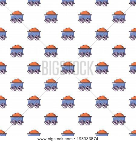 Train wagon pattern in cartoon style. Seamless pattern vector illustration