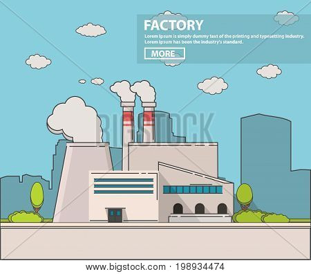 Industrial factory in flat style a vector an illustration.Plant or Factory Building.road tree window facade.Manufacturing factory building. industrial building concept.Eco style factory.City landscape