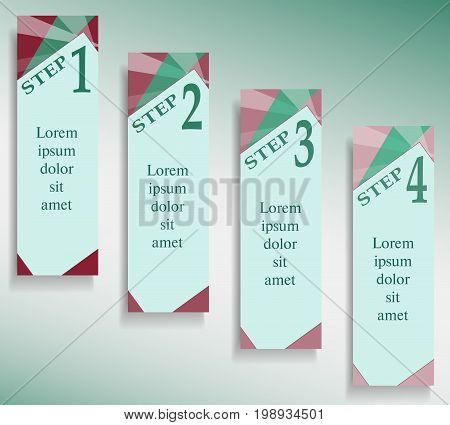 Infographic green and bordo templates. Banners for web sites with text place. Flat graphic layout. Modern technology concepts for business presentations, brochures, leaflets. Vector EPS10 illustration
