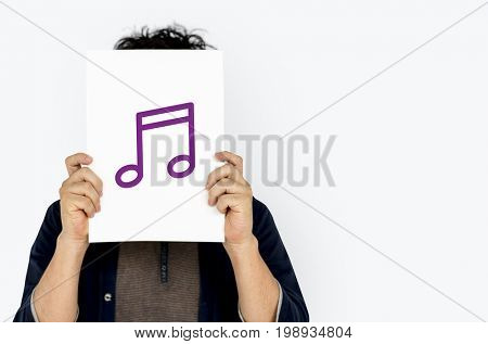 Melody music icon graphic with people studio shoot