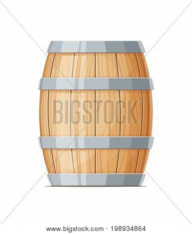 Vertical Wooden barrel for wine or beer. Container beverage. Vintage oak Cask. Isolated white background. Vector illustration.