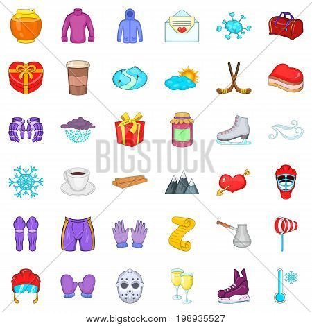 Winter sport icons set. Cartoon style of 36 winter sport vector icons for web isolated on white background