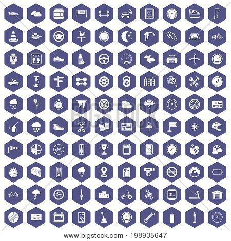 100 motorsport icons set in purple hexagon isolated vector illustration