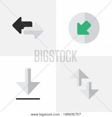 Elements Northwestward, Loading, Import And Other Synonyms Internet, Export And Northwest.  Vector Illustration Set Of Simple Cursor Icons.