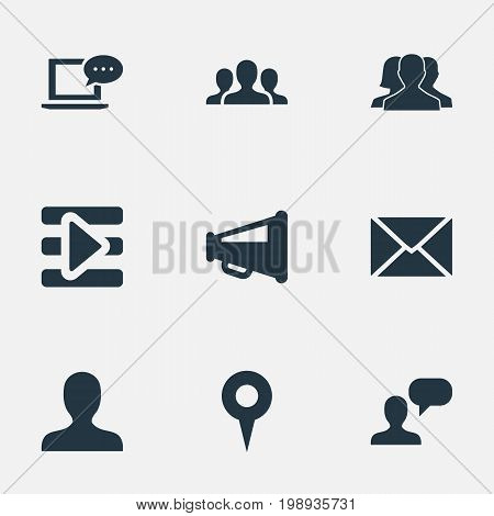 Elements New Mail, Point, Team And Other Synonyms Network, Internet And Inbox.  Vector Illustration Set Of Simple Media Icons.
