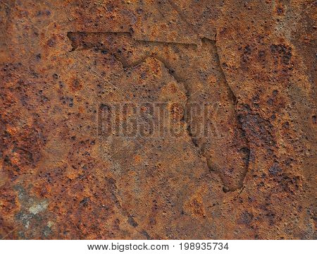 Map Of Florida On Rusty Metal