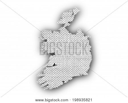 Map Of Ireland On Old Linen