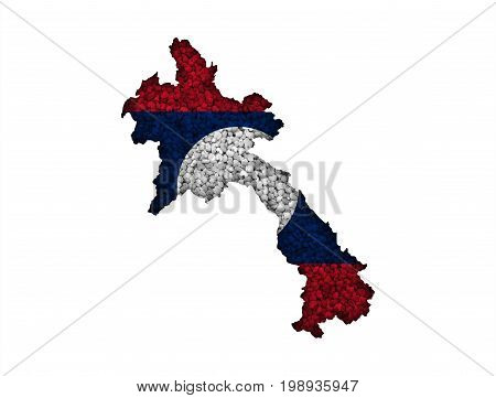 Map And Flag Of Laos On Poppy Seeds